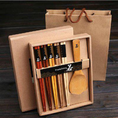 Buy ood chopsticks spoo Gift set Promotional Gifts 5 pairs of different chopsticks COLORMIX for $9.63 in GearBest store