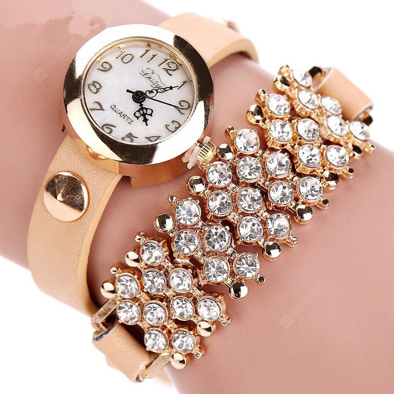 DUOYA D004 Women Leather Wrap Wrist Watch with Diamonds and Rivets
