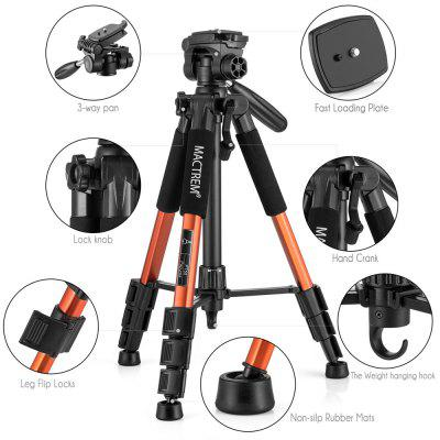 Mactrem  PT55 Travel Camera Tripod Lightweight Aluminum for DSLR SLR Canon Nikon Sony Olympus DV with Carry BagTripods<br>Mactrem  PT55 Travel Camera Tripod Lightweight Aluminum for DSLR SLR Canon Nikon Sony Olympus DV with Carry Bag<br><br>Accessories type: 3D Tripod head<br>Compatible with: Digital Camera, DSLR, Projector, Mobile phone<br>Folded Length (cm): 48<br>Leg Sections: 4<br>Material: Aluminium Alloy, Plastic<br>Max Height (cm): 145<br>Max Load (kg): 5-10kg<br>Minimum Height (cm): 45<br>Model: PT55<br>Package Contents: 1 x Tripod, 1 x Carrying bag, 1 x Multi-language User Manual<br>Package size (L x W x H): 50.00 x 10.00 x 10.00 cm / 19.69 x 3.94 x 3.94 inches<br>Package weight: 1.4500 kg<br>Production type: Tripod<br>Tripod Head Type: Three Way Head