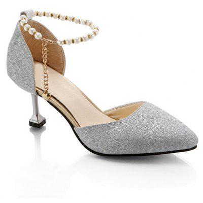Pearl Decorated Ankle and The Kitten Heel Sandals
