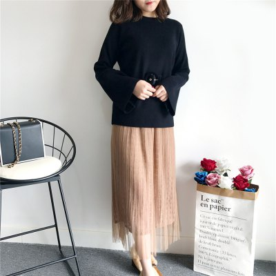 Autumn and Winter New Vintage  Ladies  Lace Gauze Skirt SuitBodycon Dresses<br>Autumn and Winter New Vintage  Ladies  Lace Gauze Skirt Suit<br><br>Dresses Length: Ankle-Length<br>Elasticity: Elastic<br>Embellishment: Sashes<br>Fabric Type: Worsted<br>Material: Cotton Blend<br>Neckline: Round Collar<br>Package Contents: 1 x skirt  1 x Sweater<br>Pattern Type: Patchwork<br>Season: Winter, Fall, Spring<br>Silhouette: Straight<br>Sleeve Length: Long Sleeves<br>Sleeve Type: Flare Sleeve<br>Style: Casual<br>Waist: Natural<br>Weight: 0.5000kg<br>With Belt: Yes