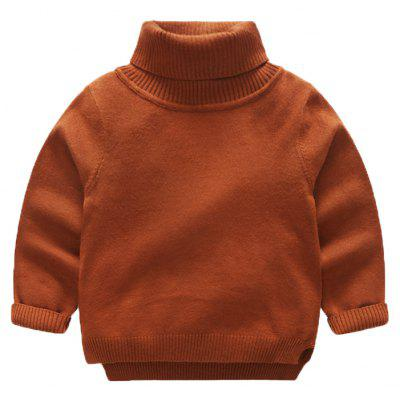 Boy'S Autumn and Winter Solid Turtleneck Sweater