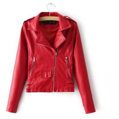 Women Baisc PU Leather Motorcycle Jacket Candy Colors Casual Solid Coat Zipper Pockets Outerwear Chic Tops
