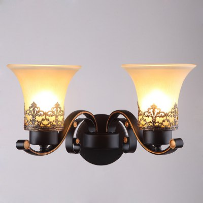 Double Heads Amercian Vintage Simple Style Wall Lamp for the Living Room / Study Room / Foyer Uplight Wall Lamp