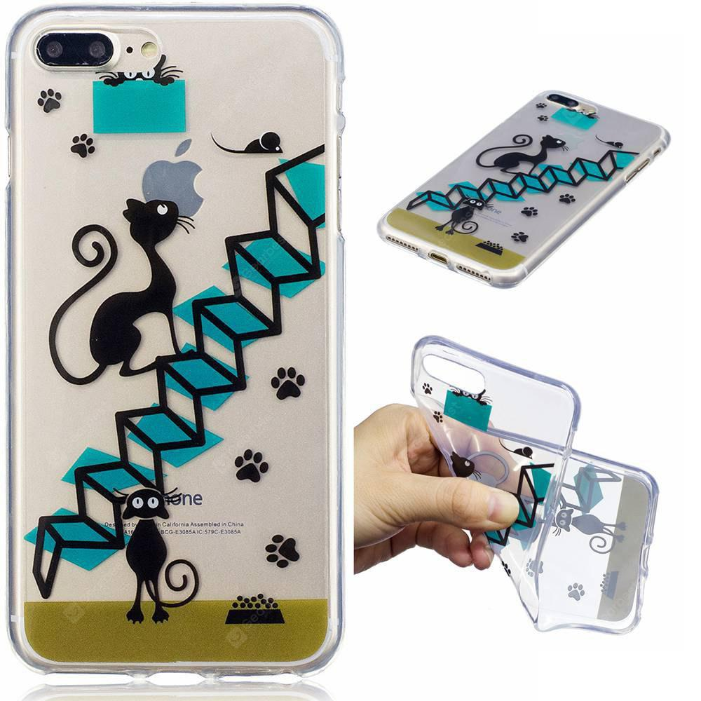 für iPhone 8 Plus Treppe Cat Pattern Painted High Penetration TPU Material IMD Prozess weichen Fall Telefon Fall