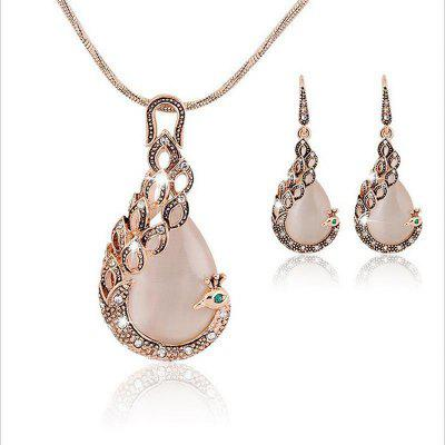 Peacock Necklace Set Pendant Earring Jewelry