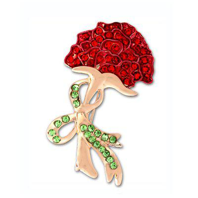 Enamel Crystal Red Carnation Flower Bowknot Brooch for Women Wedding Bridal Brooches &Pins Mother's Day Gift
