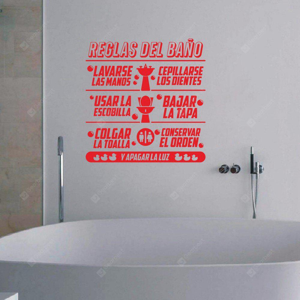 Bathroom Rules Spanish Quote Vinyl Wall Stickers Duck Wall Decals Espanol  Lauguage Toilet Sticker Home Decor