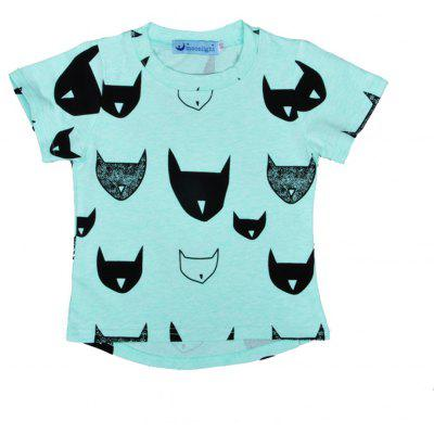 SOSOCOER Children Clothing 2-7T Bat Head Printed Short Sleeved Round Collar Boys T - Shirt