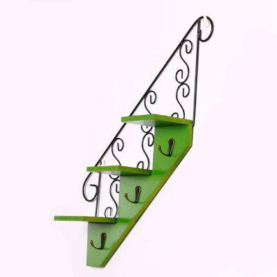 New Rural Stair Modeling Multi-User Wall Hook Flower RackHooks &amp; Racks<br>New Rural Stair Modeling Multi-User Wall Hook Flower Rack<br><br>Functions: Home, Living Room<br>Materials: Wood, Metal<br>Package Contents: 1 x Wall Hook<br>Package Size(L x W x H): 52.00 x 10.00 x 20.00 cm / 20.47 x 3.94 x 7.87 inches<br>Package weight: 0.3000 kg<br>Types: Hooks and Racks
