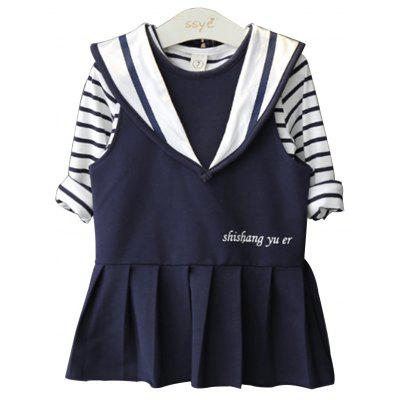 Buy NAVY BLUE 120 Spring Autumn Season Girl Two Piece Dress Striped Jacket Navy Wind Strap Skirt Long Sleeve for $28.28 in GearBest store