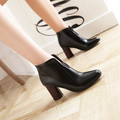 Chunky Heel Round Toe BootiesWomens Boots<br>Chunky Heel Round Toe Booties<br><br>Boot Height: Ankle<br>Boot Tube Circumference: 26<br>Boot Tube Height: 8.5<br>Boot Type: Fashion Boots<br>Closure Type: Slip-On<br>Gender: For Women<br>Heel Height: 7.5<br>Heel Height Range: High(3-3.99)<br>Heel Type: Chunky Heel<br>Insole Material: PU<br>Lining Material: PU<br>Outsole Material: Rubber<br>Package Contents: 1xShoes(pair)<br>Pattern Type: Solid<br>Platform Height: 1<br>Season: Winter<br>Shoe Width: Medium(B/M)<br>Toe Shape: Round Toe<br>Upper Material: PU<br>Weight: 1.4080kg