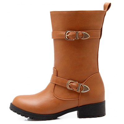 Low Heel Round Toe Mid-Calf BootsWomens Boots<br>Low Heel Round Toe Mid-Calf Boots<br><br>Boot Height: Mid-Calf<br>Boot Tube Circumference: 32<br>Boot Tube Height: 21<br>Boot Type: Motorcycle Boots<br>Closure Type: Slip-On<br>Embellishment: Buckle<br>Gender: For Women<br>Heel Height: 3<br>Heel Height Range: Low(0.75-1.5)<br>Heel Type: Low Heel<br>Insole Material: PU<br>Lining Material: PU<br>Outsole Material: Rubber<br>Package Contents: 1xShoes(pair)<br>Pattern Type: Solid<br>Platform Height: 1<br>Season: Winter<br>Shoe Width: Medium(B/M)<br>Toe Shape: Round Toe<br>Upper Material: PU<br>Weight: 1.4520kg