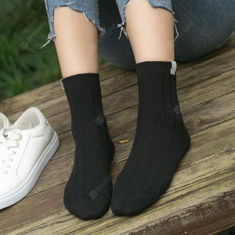 Monochrome Color Women'S Fashion Colorful Knitted Striped Cotton Socks Women