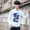 Young Casual Long-Sleeved Printed Iron Shirt - WHITE