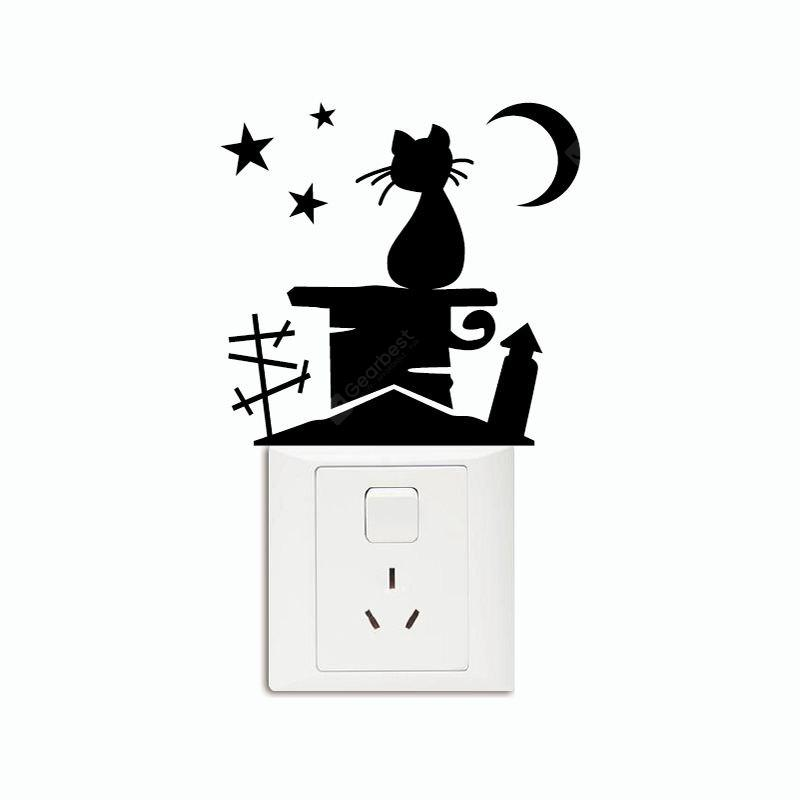 DSU Cat On Roof Chimney With Moon And Stars Light Switch Sticker Creative Animal Viny