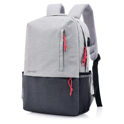 Contrast Color Computer Bag Rechargeable School BackpackBackpacks<br>Contrast Color Computer Bag Rechargeable School Backpack<br><br>For: Traveling<br>Material: Canvas<br>Package Contents: 1 x Bag<br>Package size (L x W x H): 29.00 x 13.00 x 46.00 cm / 11.42 x 5.12 x 18.11 inches<br>Package weight: 0.6500 kg<br>Product size (L x W x H): 28.00 x 12.00 x 45.00 cm / 11.02 x 4.72 x 17.72 inches<br>Product weight: 0.5800 kg<br>Type: Backpack