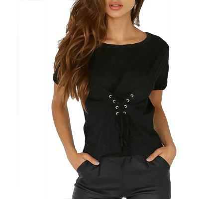 Casual Lace Up Short T-Shirt