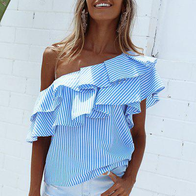 Off Shoulder Asymmetric Stripe Ruffle TopTees<br>Off Shoulder Asymmetric Stripe Ruffle Top<br><br>Collar: Skew Collar<br>Elasticity: Elastic<br>Embellishment: Ruffles<br>Fabric Type: Broadcloth<br>Material: Polyester<br>Package Contents: 1 x Top<br>Pattern Type: Striped<br>Shirt Length: Regular<br>Sleeve Length: Short<br>Style: Sexy<br>Weight: 0.1600kg