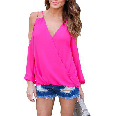 V Neck Off Shoulder Criss Sexy Chiffion T-Shirt