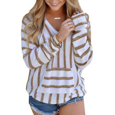 Hooded  Casual Stripe Sweater