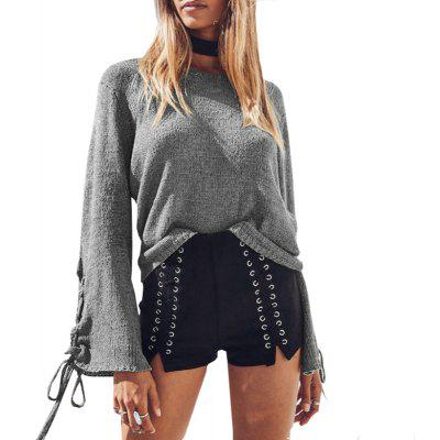 Buy GRAY L Round Neck Lace Up Sweater for $20.15 in GearBest store