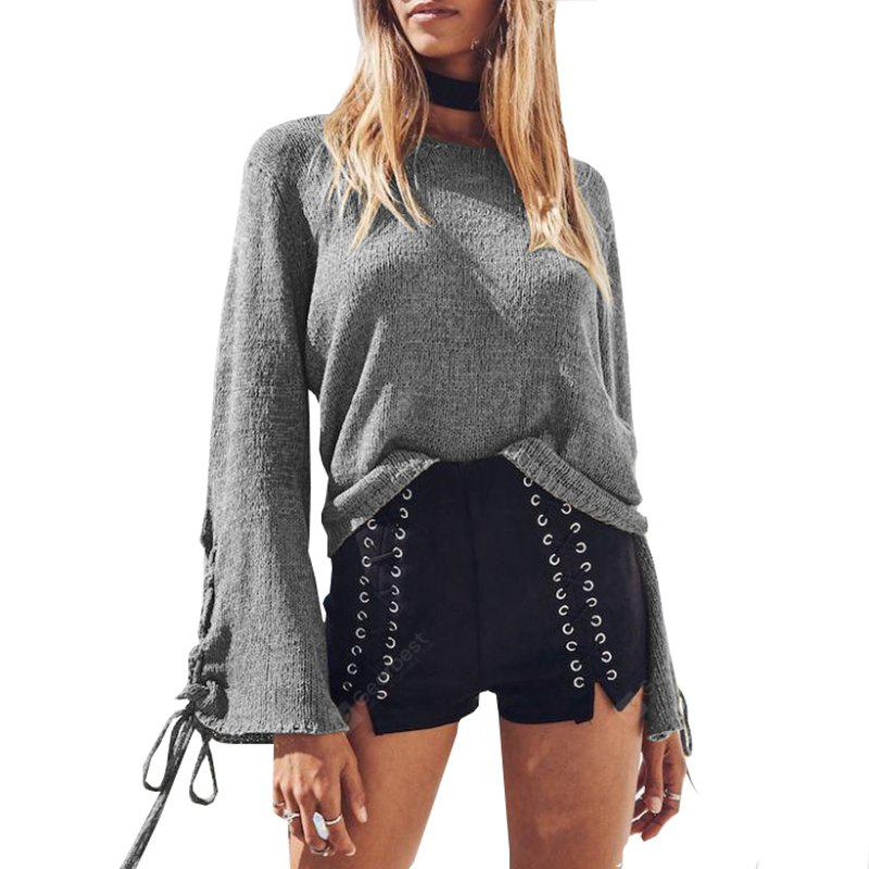 GRAY XL Round Neck Lace Up Sweater