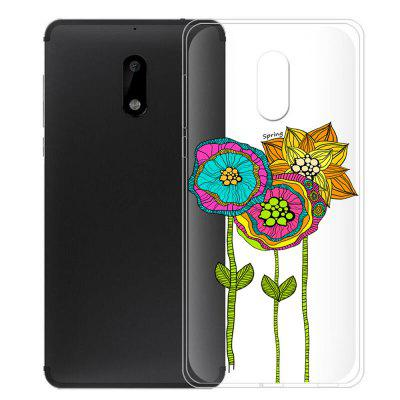 TPU Colored Lotus Pattern Soft Phone Funda funda para Nokia 6
