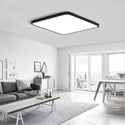 Black Frame 36 Watts, Three Color North European Ultra Thin Modern Simple Bedroom Living Room LED Lamp 50 x 50 Cm 1 PC