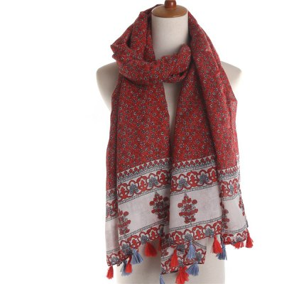 M1590 small Floral Cotton tassel scarf