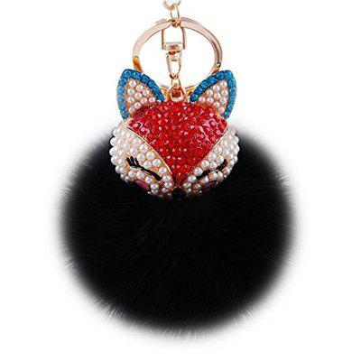 Real Fox Fur Ball with Artificial Fox Head Inlay Pearl Rhinestone Key Chain for Womens Bag or Cellphone or Car Pendant