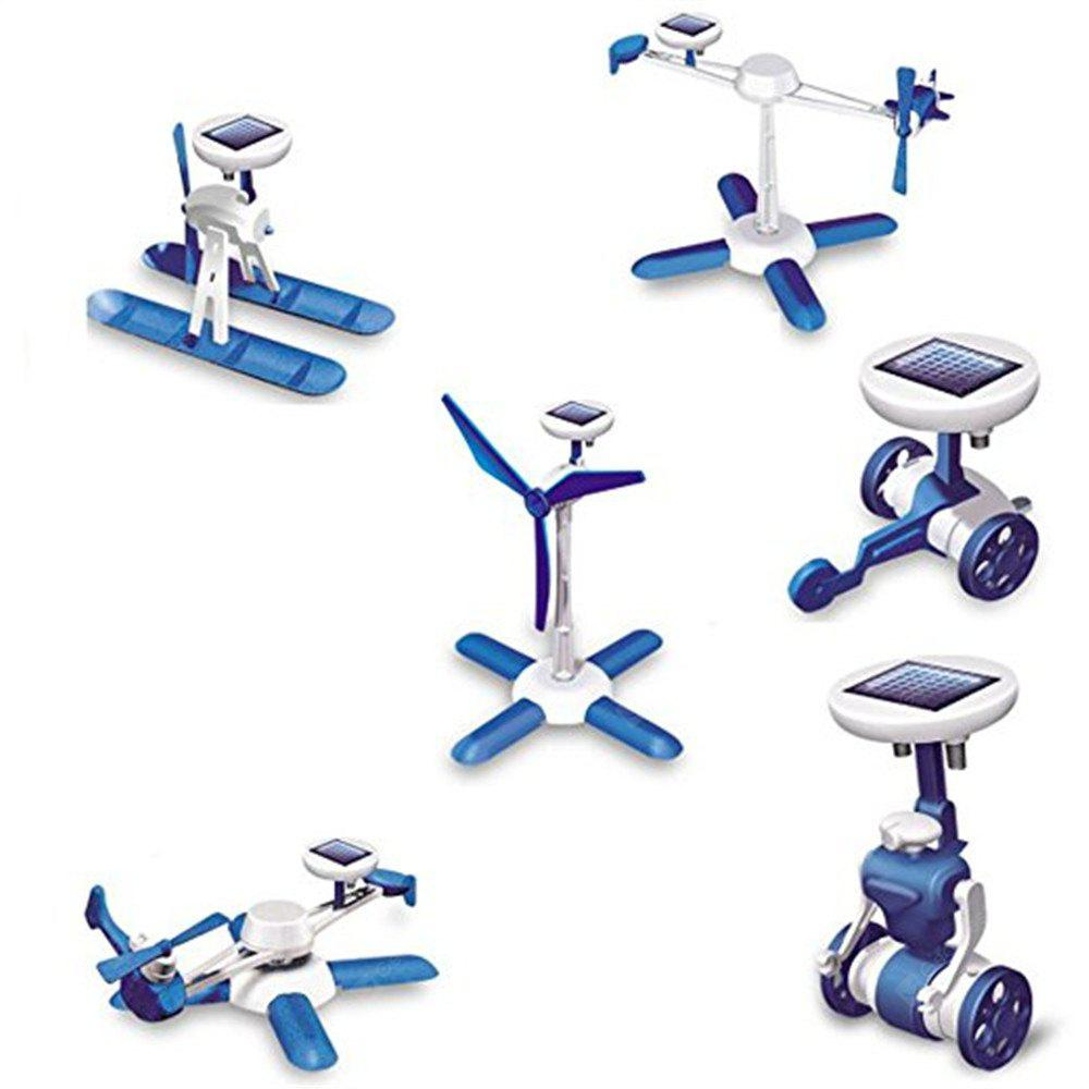 6 in 1 DIY Science Educational Solar Energy Robots Kit Plane Windmill Airboat Car Helicopter Toy