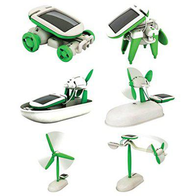 DIY 6-in-1 Educational Solar Kit Build Your Own Science Toy  -  GREEN