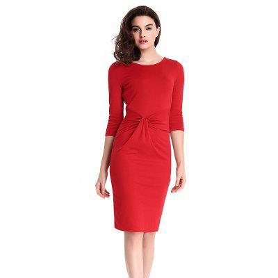 Buy 2018 Europe Slim Zipper Pencil Women Dresses RED 2XL for $25.17 in GearBest store