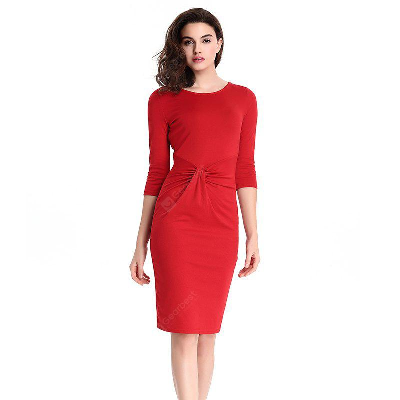2018 Europe Slim Zipper Pencil Women Dresses RED S