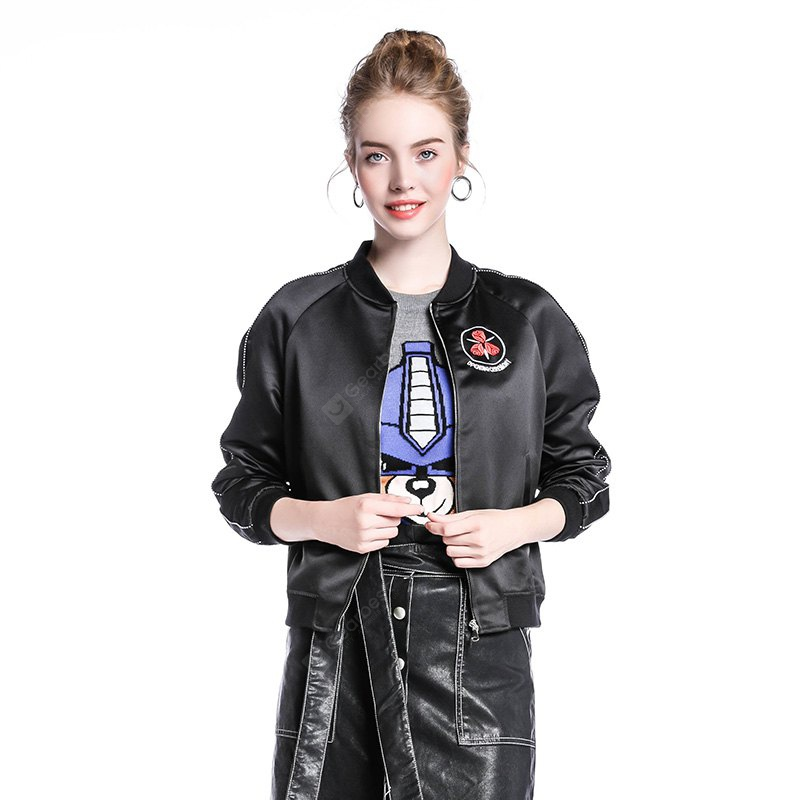 Nouveau Rose Broderie Collar Zipper Cardigan Casual Baseball Jacket