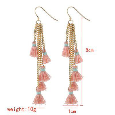 Chain Pendant Tassel EarringsEarrings<br>Chain Pendant Tassel Earrings<br><br>Back Finding: Push-back<br>Earring Type: Hoop Earrings<br>Gender: For Women<br>Material: Zinc Alloy<br>Metal Type: Zinc Alloy<br>Occasion: Party<br>Package Contents: 1 x pair of earring<br>Package size (L x W x H): 1.00 x 1.00 x 1.00 cm / 0.39 x 0.39 x 0.39 inches<br>Package weight: 0.0200 kg<br>Setting Type: None<br>Shape/Pattern: Geometric<br>Style: Classic<br>Surface Plating: 14K Gold Plated