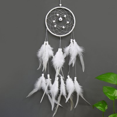 Dream Catcher Wind Chime decorazione della casa Dreamcatchers con piume bianche appeso a parete Dreamcatcher White Nursery Car Gi