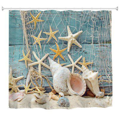 Nets Starfish Polyester Shower Curtain Bathroom High Definition 3D Printing Water Proof