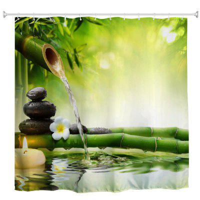 Zen And Water Bamboo Polyester Shower Curtain Bathroom Curtain High  Definition 3D Printing Water Proof ...