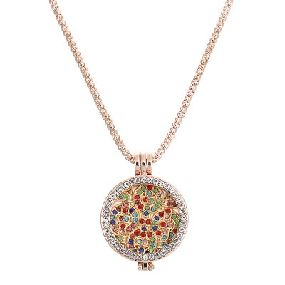 Fashion Jewelry Essential Oil Rhinestone Round Pendant Necklace Set for Women Party Gift with Copper Alloy ChainNecklaces &amp; Pendants<br>Fashion Jewelry Essential Oil Rhinestone Round Pendant Necklace Set for Women Party Gift with Copper Alloy Chain<br><br>Gender: For Women<br>Item Type: Pendant Necklaces<br>Length of Chain: 75cm<br>Material: Crystal<br>Metal Type: Zinc Alloy<br>Necklace Type: Snake Chain<br>Package Contents: 1 x Necklace, 6 x Fragrance Mat<br>Package size (L x W x H): 11.00 x 8.00 x 1.00 cm / 4.33 x 3.15 x 0.39 inches<br>Package weight: 0.0300 kg<br>Shape/Pattern: Round<br>Style: Trendy<br>Surface Plating: 18K Gold Plated