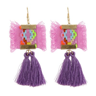 Itenice Fashion Jewelry Patrón Nacional Colorful Tassels Earrings para Mujeres Étnico Vintage Bohemia Square Drop Earrings