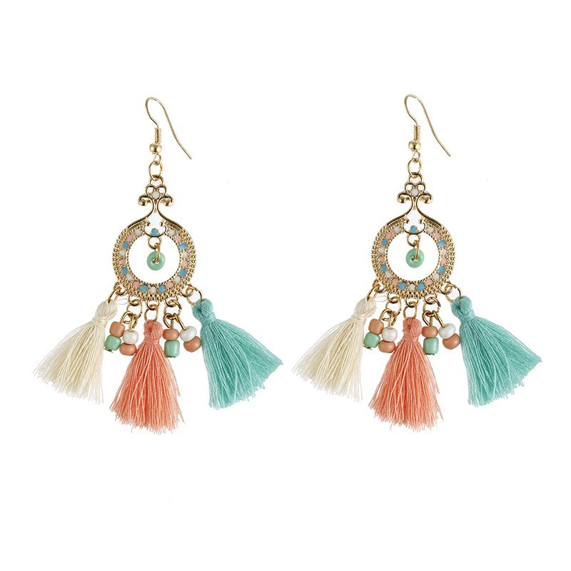 Joyería de moda Bohemia Vintage Style Round Small Beads Charm Barroco y Rococó Long Tassels Drop Earrings para mujer