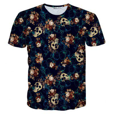 Buy BLUE XL Street Fashion Personality and Creative Skull 3D Digital Print T-Shirt Hot Style for $25.09 in GearBest store