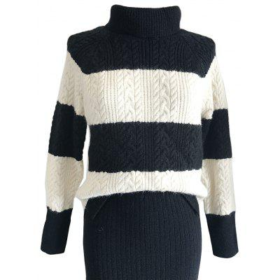 Retro Harajuku Wide Stripe Turtleneck Sweater