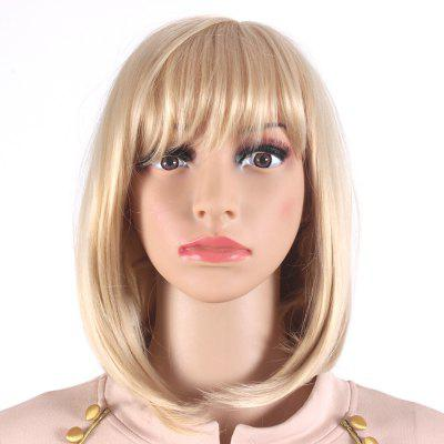 Bob Style Medium Length Blonde Wigs for Women Heat Resistant Synthetic Hair Wigs SW0020J-O