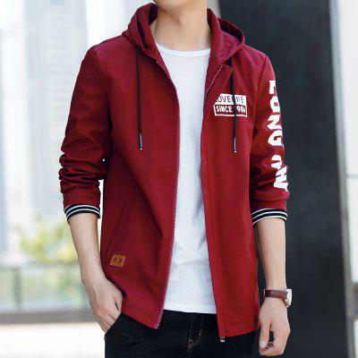 English Letter Printing Men Hoodie JacketMens Jackets &amp; Coats<br>English Letter Printing Men Hoodie Jacket<br><br>Clothes Type: Jackets<br>Collar: Hooded<br>Material: Polyester, Spandex<br>Package Contents: 1 x jacket<br>Season: Fall<br>Shirt Length: Regular<br>Sleeve Length: Long Sleeves<br>Style: Casual<br>Weight: 0.5000kg