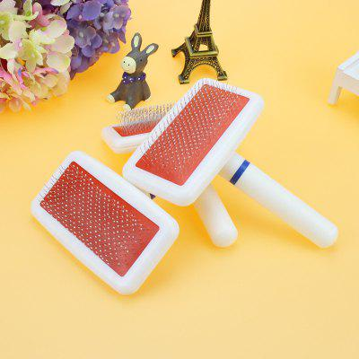 Dogs Cat Pets Dense Gilling Clean Pin Brush Hair Comb Grooming Tools White Plastic Handle Pet