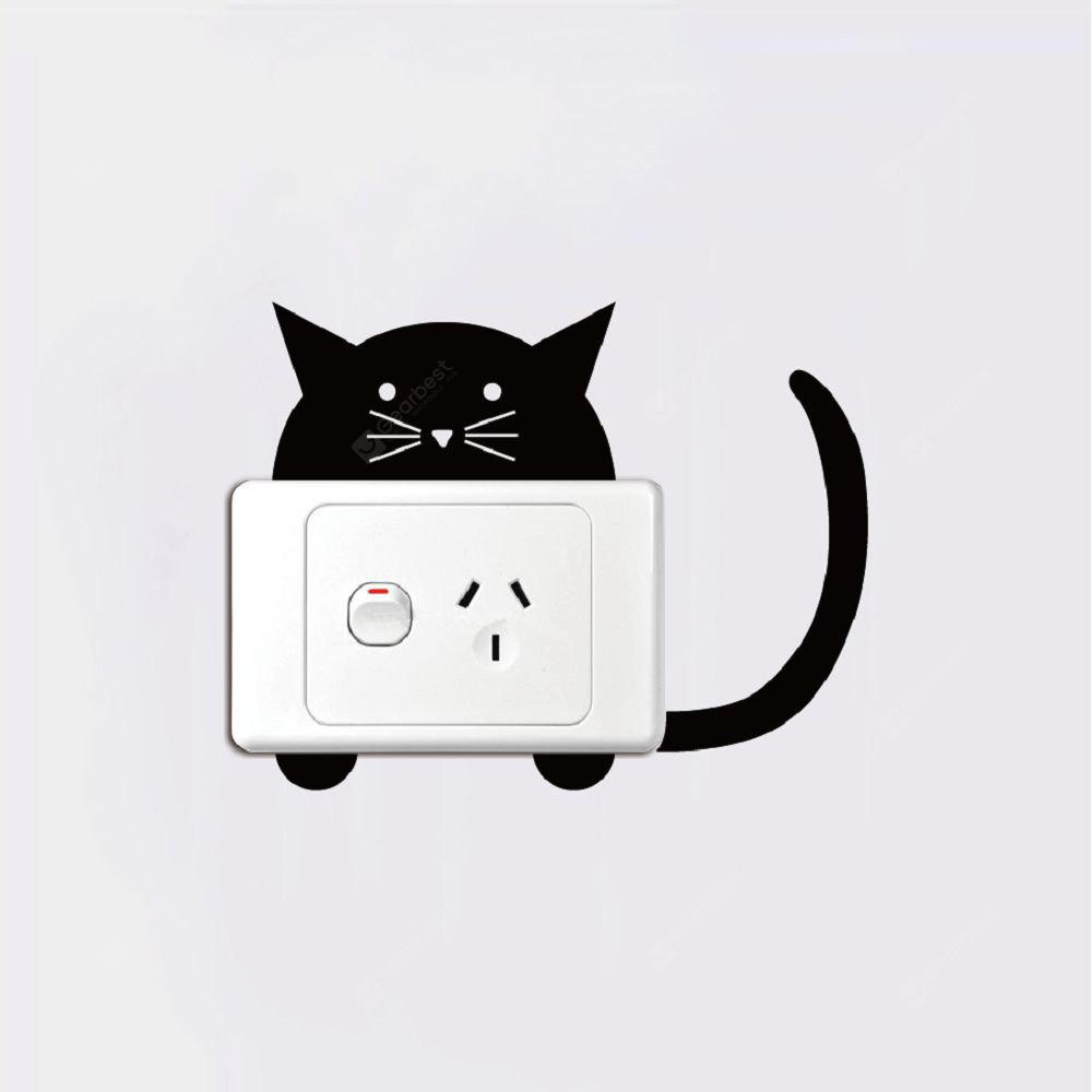 Cat-122 Funny Cartoon Cat Light Switch Adesivo Animale creativo Adesivo da parete in vinile