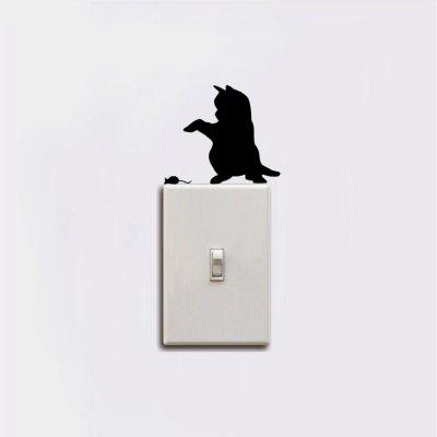 Cat-123 Funny Cat Catching Mouse Light Switch Sticker Cartoon Animal Vinyl Wall StickerWall Stickers<br>Cat-123 Funny Cat Catching Mouse Light Switch Sticker Cartoon Animal Vinyl Wall Sticker<br><br>Art Style: Plane Wall Stickers, Toilet Stickers<br>Color Scheme: Black<br>Effect Size (L x W): 6.9 x 9cm<br>Function: Decorative Wall Sticker<br>Layout Size (L x W): 6.9 x 9cm<br>Material: Vinyl(PVC)<br>Package Contents: 1 x Wall Sticker<br>Package size (L x W x H): 10.00 x 10.00 x 1.00 cm / 3.94 x 3.94 x 0.39 inches<br>Package weight: 0.0500 kg<br>Product size (L x W x H): 6.90 x 9.00 x 0.01 cm / 2.72 x 3.54 x 0 inches<br>Product weight: 0.0400 kg<br>Quantity: 1<br>Sizes: Others<br>Subjects: Fashion,Vintage,Others,Letter,Cute,Cartoon,Music,Famous,Romance<br>Suitable Space: Living Room,Hotel,Kids Room,Pathway,Kids Room,Boys Room,Girls Room,Game Room<br>Type: Plane Wall Sticker